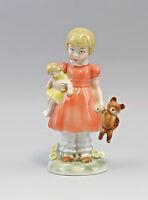 9942776 Porzellan Figur Mädchen mit Puppe und Teddy Wagner&Apel H18cm