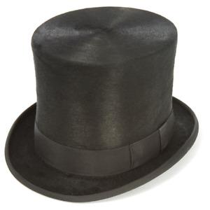 """Christys' Black Fur Felt TALL Top Hat 6.25"""" app. crown Topper Polished Melusine"""