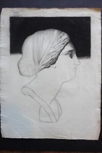 FRENCH SCHOOL 19thC - STUDY CLASSICAL FIGURE - YOUNG WOMAN - CHARCOAL DRAWING