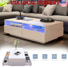 Modern High Gloss White LED Coffee Tea Sofa Side Table with 4 Drawers Furniture