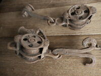 Misc pulleys etc with piece of blacksmith hand forged wrought iron barn farm