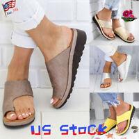 Summer Women Platform Toe Ring Sandals Comfort Wedge Flip Flops Casual Slides US