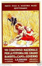 POSTCARD ITALIAN VICTORY OF THE GRAIN SIGNED BUSI CHILDREN WITH BREAD