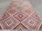 "Antique Turkish Antalya Classic Kilim, Diamond Designed Rug Wool Carpet 77""x135"""