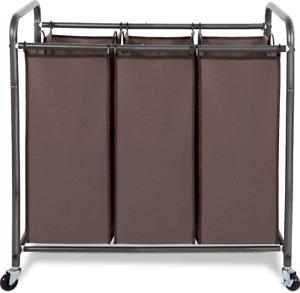 Laundry Sorter Hamper Heavy Duty Rolling Lockable Wheels Removable Bag 3 Section