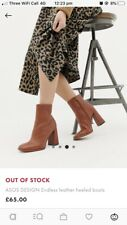 Womens Asos Tan Brown Leather Boots, Size 5