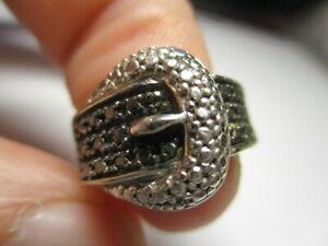 STERLING SILVER 925 ESTATE BLACK DIAMOND BELT BUCKLE BAND RING SIZE 4