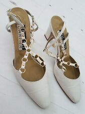 Beige Ivory Shoes Gold Links Ankle Strap Size 5 EUR 38 by Roland Cartier