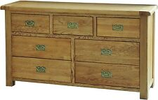 Heath solid oak furniture 3 over 4 large wide chest of drawers
