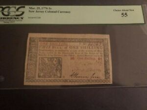 New Jersey Colonial Currency Mar. 25, 1776 1 Shilling Choice About New 55