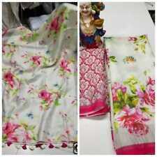 New Multi Color Linen Saree Sari Party Wear Ethnic Fancy Saree Print Work Saree