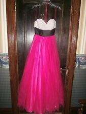 hot pink ball gown/ dress jovoni size 4 pearl/rhinestone top black satin sash