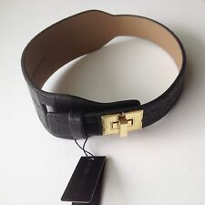 NEW BCBG MAXAZRIA COLLAR CHOKER NECKLACE VEGAN LEATHER BLACK JEWELRY SIZE M/L