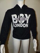 Neuer Boy London Hoodie Pullover Gr. XS Schwarz Vorne Großes Logo Unisex NEU/OVP