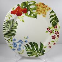 "Pier 1 EXOTIC FLORAL Dinner Plate Ironstone China Retired 2010 Tropical 11"" Big"