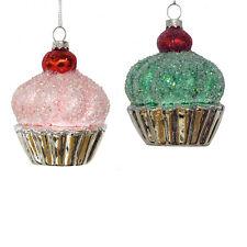 """D2918 Kurt Adler 4"""" Set/2 Pink Green Frosted Cherry Top Cupcake Glass Ornament"""
