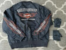 Harley-Davidson Genuine MotorClothes Men XL Black Nylon Jacket Flame Embroidery