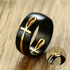 Mens Two Tone Ankh Egyptian Cross Ring Stainless Steel Detachable Religious Band