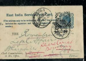 INDIA COVER (PP0407B) 1901 QV 1/4A PREPRINTED PSC TO POONA & BOMBAY