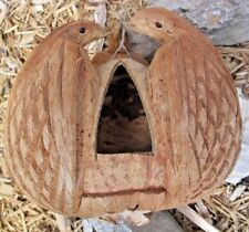 Coconut Bird Feeder/ 3 Detailed Birds~Hand Carved/Folk Art Tiki Bar Decor