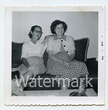 1950s  Square Photo Ladies on sofa Lucky lager beer can  Westside Hand sign