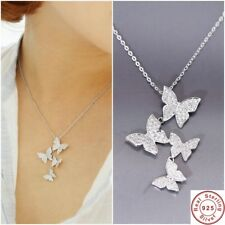 925 Sterling Silver Necklace Crystal Rhinestone Pendant Women Jewelry Butterfly