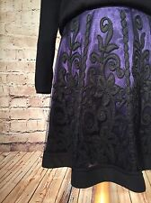 NW3 HOBBS Purple Black Floral Lace Appliqué Full A-Line VICTORIAN GOTH Skirt 8