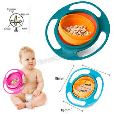 Gyro Bowl Baby Children Kids Feeding Dish Cute Baby 360 Rotate Spill-Proof Bowls