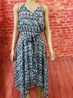 NEW Banana Republic Blue Printed combo Handkerchief Hem Racerback Womens Dress L