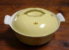 Vintage Dru Holland Yellow Enamel Cast Iron Dutch Oven Casserole Dish Pot w/ Lid