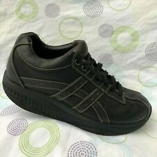 Skechers Shape Ups Black Leather Lace Up Walking Loafer Sneakers Mens 9 Casual