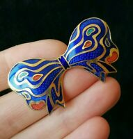 Vintage Enamel Blue Red 1980's Gold Tone Retro Guilloche Bow Ribbon Pin Brooch