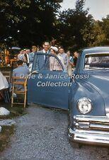 M051 35mm Slide 1950's Art in the Park, Old Car, Orange Border Kodachrome