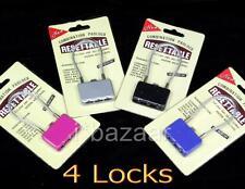 4 x Luggage Padlock WIRE Travel 3 Digits Combination Pad Lock
