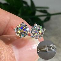 Plated Zirconia Silver Round Earrings Women Cubic Fashion Men 925 Wedding Stud
