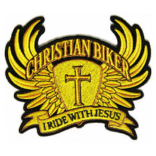 Christian Biker I Ride With Jesus In Yellow Brown Iron on Patch Biker Patch
