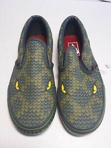 Vans Green Snake Lizard Reptile Slip On Sneakers Kids 1
