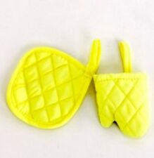 "KITCHEN BAKING COOKING YELLOW OVEN MITTS FITS 18"" American Girl Doll"
