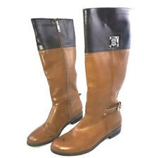 Tommy Hilfiger Womens Boots TWXENON2 Side Zip Tall Size 8.5 Cognac Brown