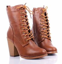 Tan Faux Leather Lace Up Ankle-High Chunky Heels Womens Combat Boots Shoes