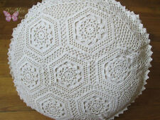 Vintage Fine thread Hand Crochet Beige Round Cushion cover/pillow cover 16""