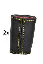 yellow stitch FITS TOYOTA MR2 MK2 89-00  2X SEAT BELT STALK LEATHER COVERS