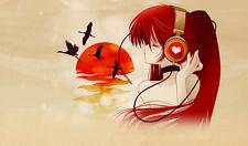 Sexy Anime Girl w Headphones Playmat Mat #A121