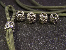 5 metal PEWTER SKULL BEADS FOR TACTICAL PARACORD KNIFE LANYARDS  SURVIVAL GEAR