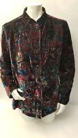 Chicos Womens Burnout Velvet Button Jacket Size 3 Large Multicolor Blazer Casual