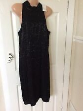 Black Flapper Sequins Dress Size 12 Wallis New With Tag