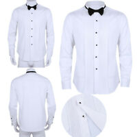 Men's Stylish Casual Tuxedo Dress Shirt Slim Fit Collar T-Shirts Formal Business