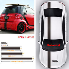 Black Racing Car Vinyl Stripe Decals Stickers For Cover, Roof, Trunk, Side Doors