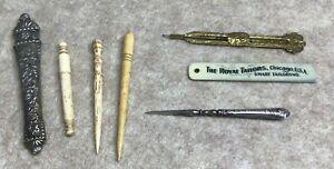 Lot of 7 antique needlework tools - sewing, crochet, etc.