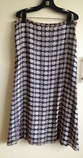 Selective pure silk retro print fully lined midi skirt Size 14